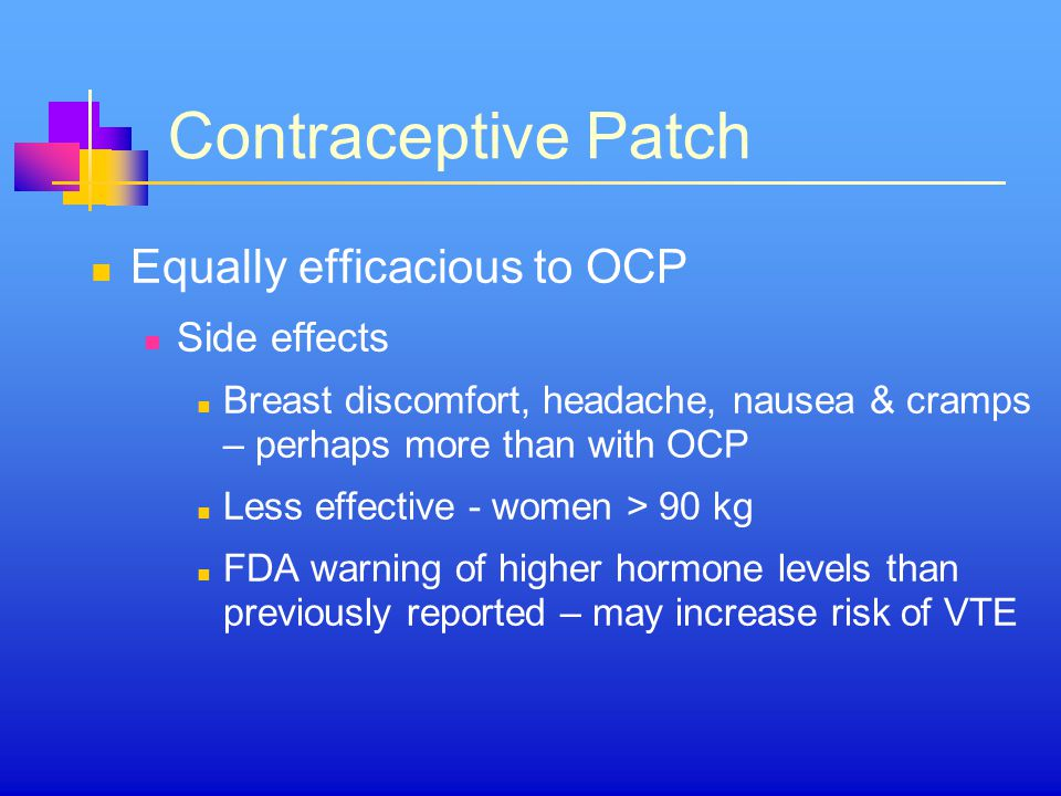 Contraceptive Patch Equally efficacious to OCP Side effects