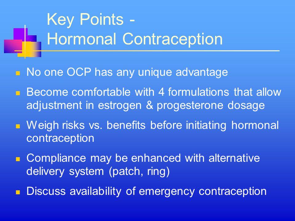 Key Points - Hormonal Contraception