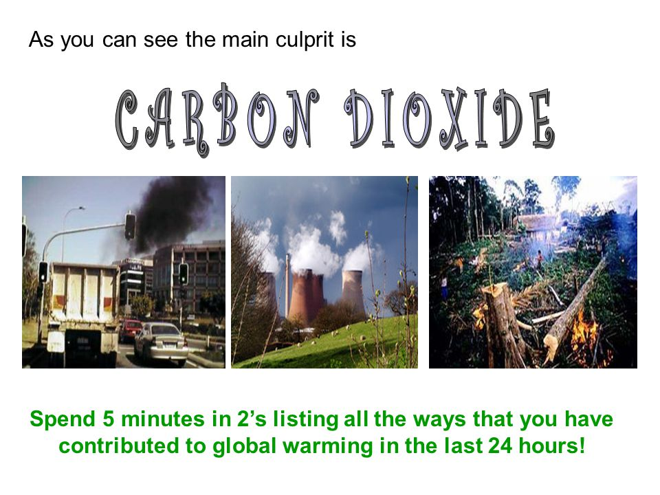 CARBON DIOXIDE As you can see the main culprit is