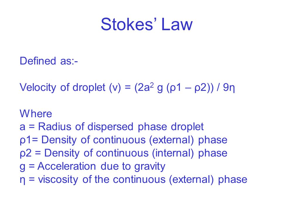 Stokes' Law Defined as:-