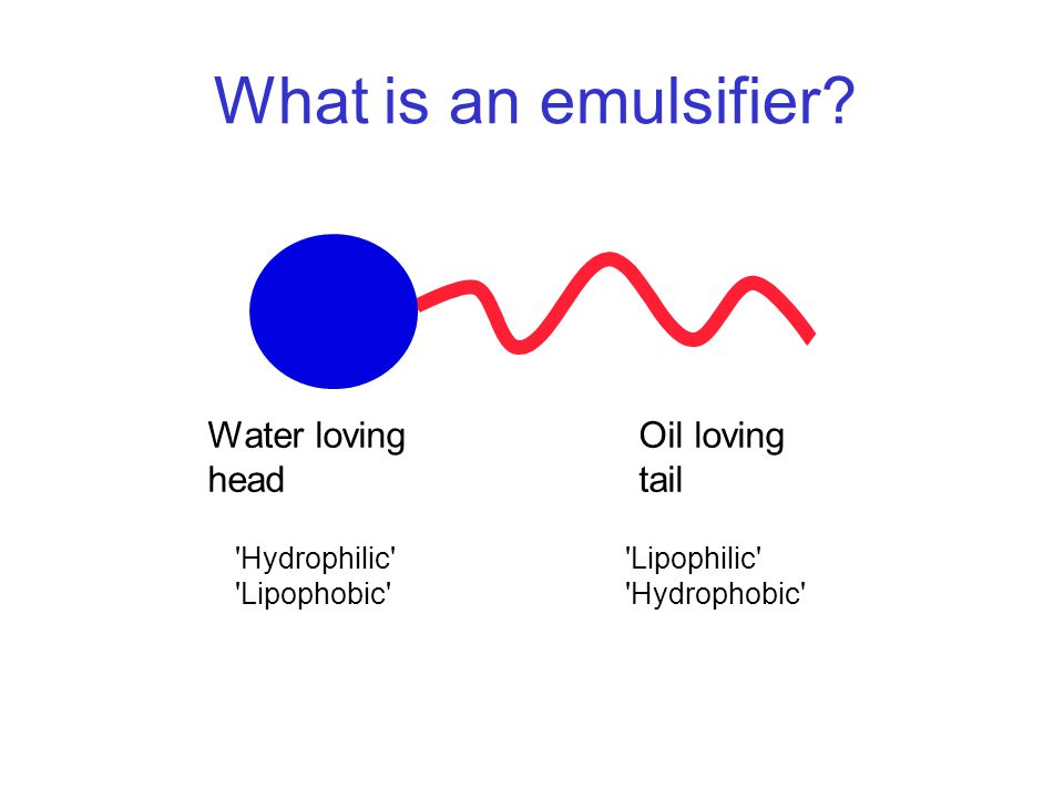 What is an emulsifier Water loving head Oil loving tail Hydrophilic