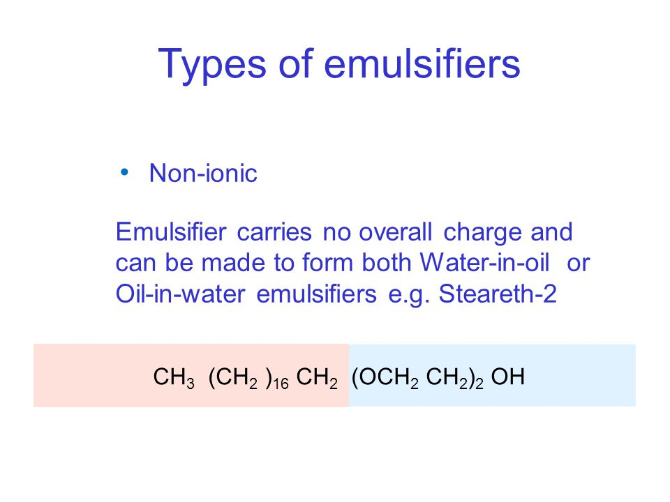 Types of emulsifiers Non-ionic