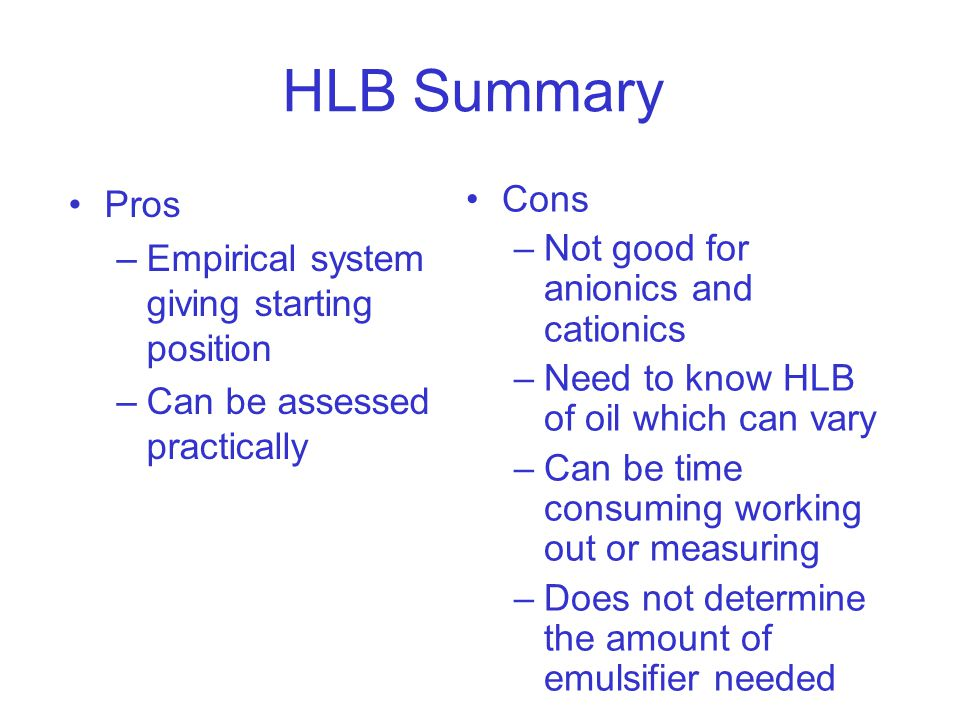 HLB Summary Pros Cons Not good for anionics and cationics