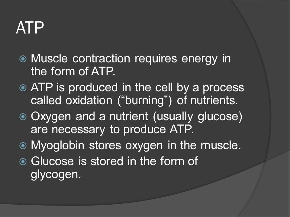 ATP Muscle contraction requires energy in the form of ATP.