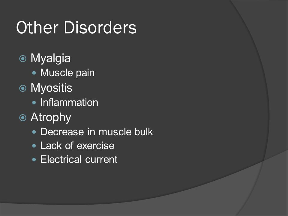 Other Disorders Myalgia Myositis Atrophy Muscle pain Inflammation