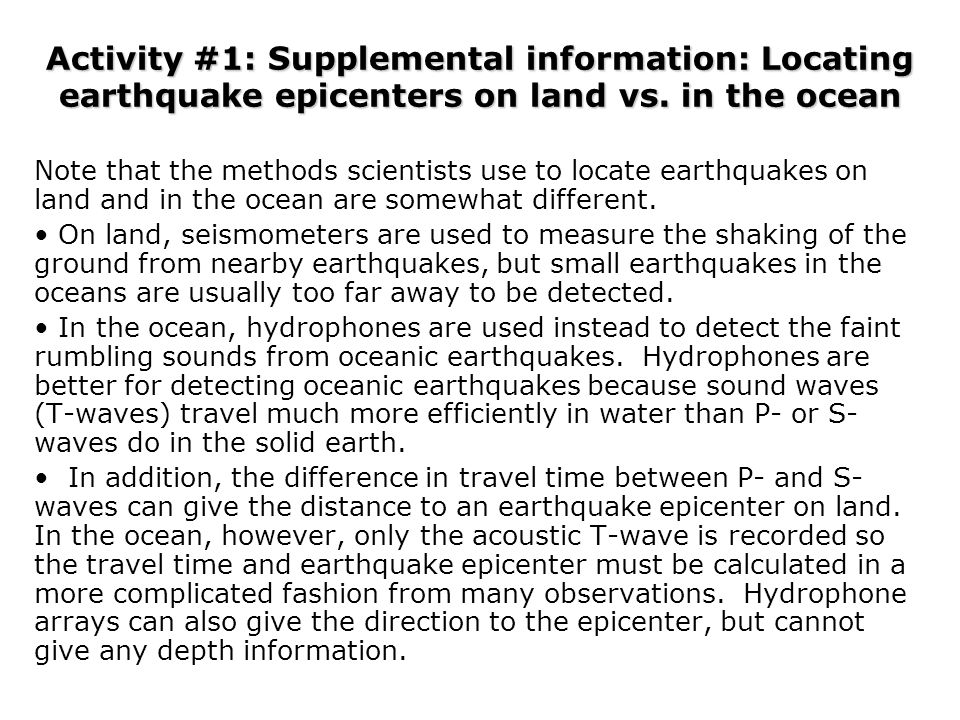Activity #1: Supplemental information: Locating earthquake epicenters on land vs. in the ocean