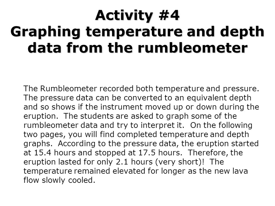 Activity #4 Graphing temperature and depth data from the rumbleometer