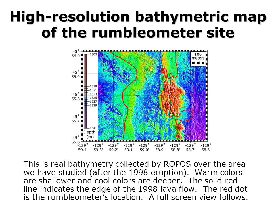 High-resolution bathymetric map of the rumbleometer site