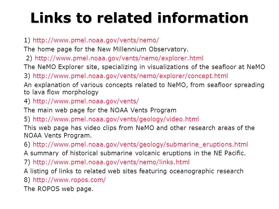 Links to related information