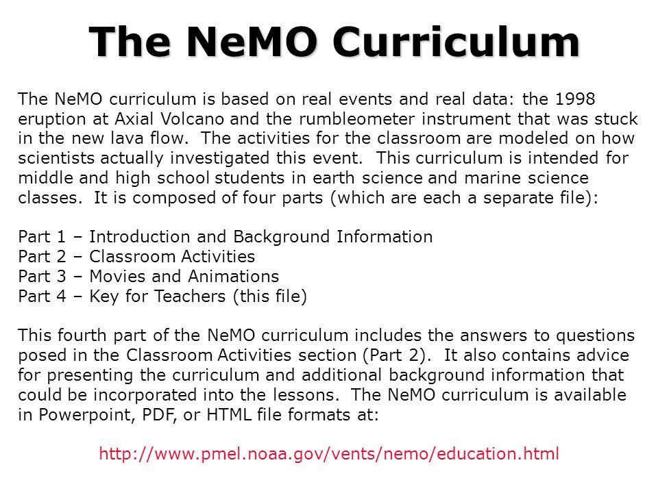 The NeMO Curriculum