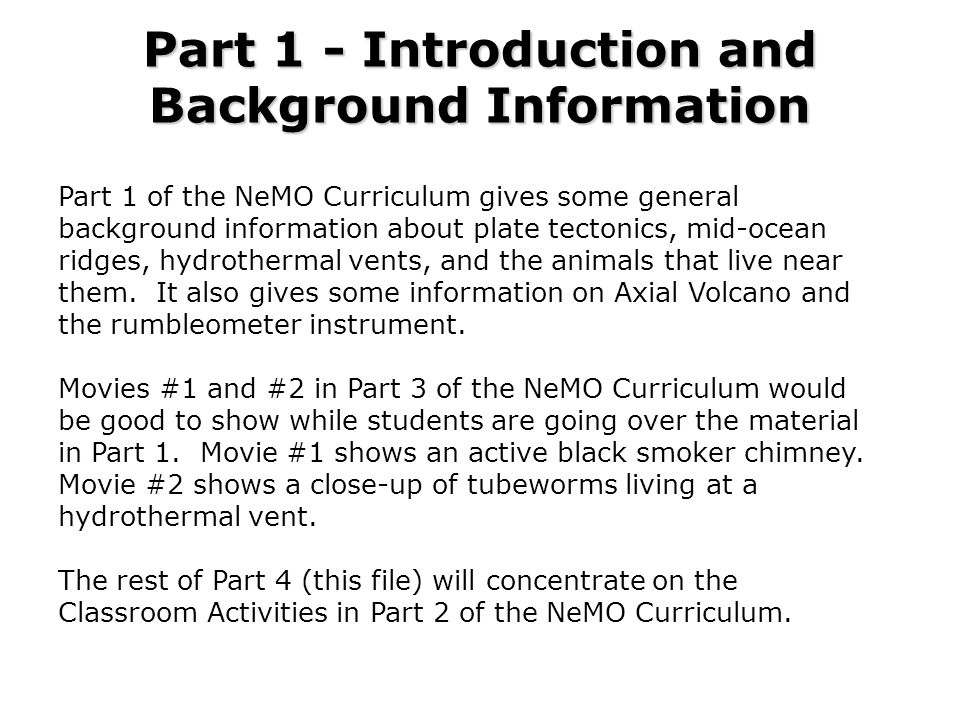 Part 1 - Introduction and Background Information