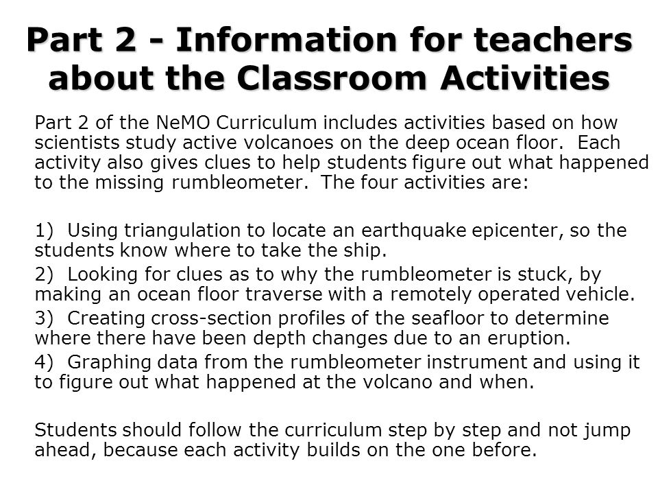 Part 2 - Information for teachers about the Classroom Activities