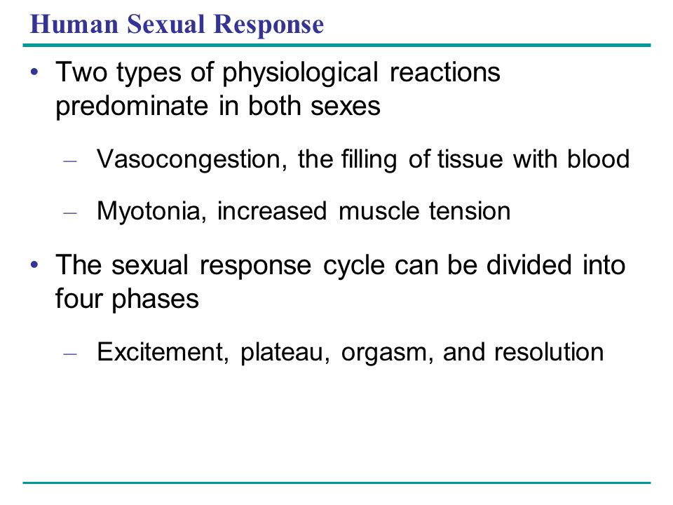 Two types of physiological reactions predominate in both sexes