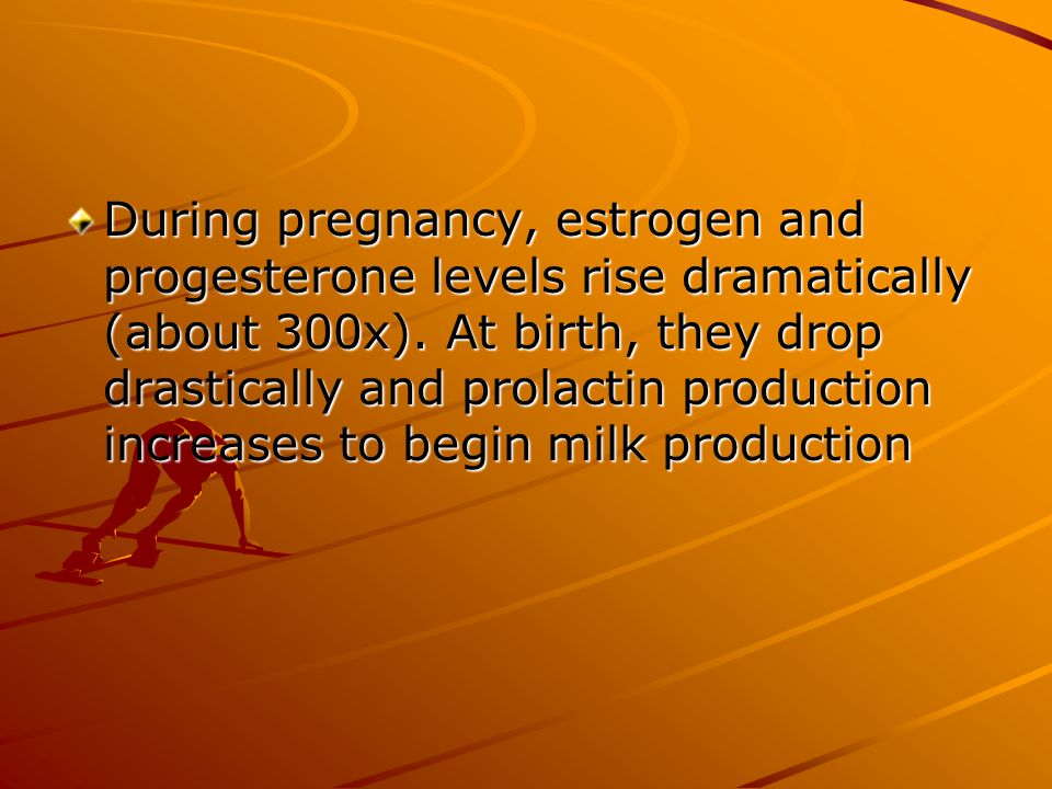 During pregnancy, estrogen and progesterone levels rise dramatically (about 300x).