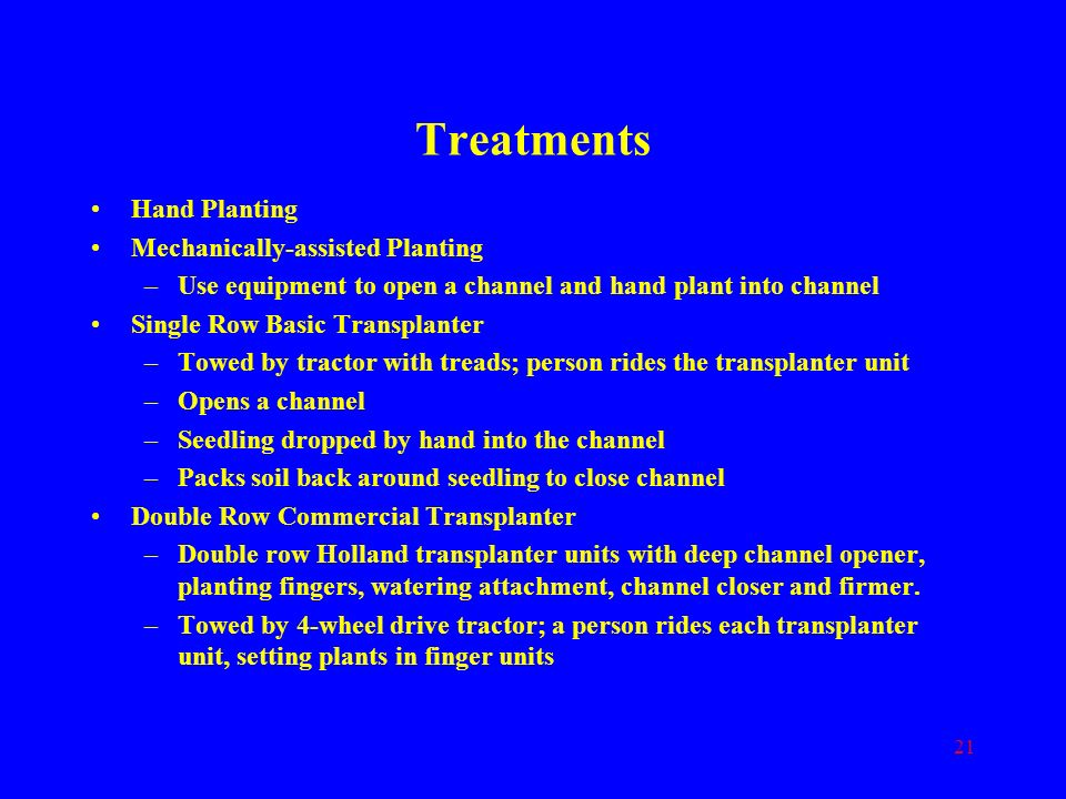 Treatments Hand Planting Mechanically-assisted Planting