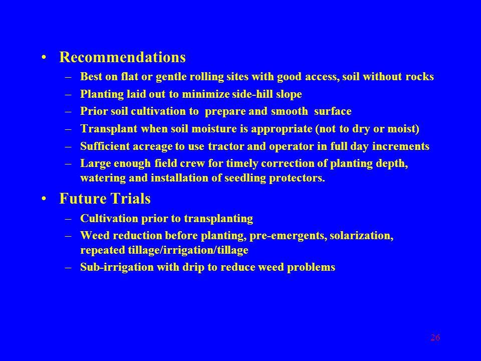 Recommendations Future Trials