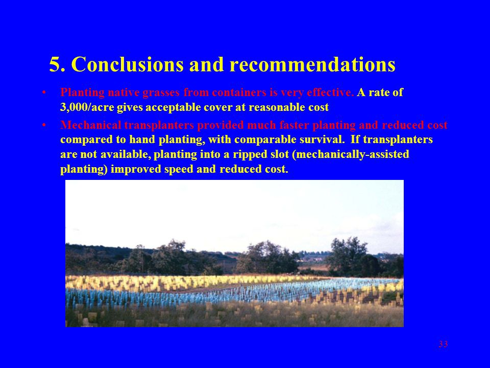 5. Conclusions and recommendations