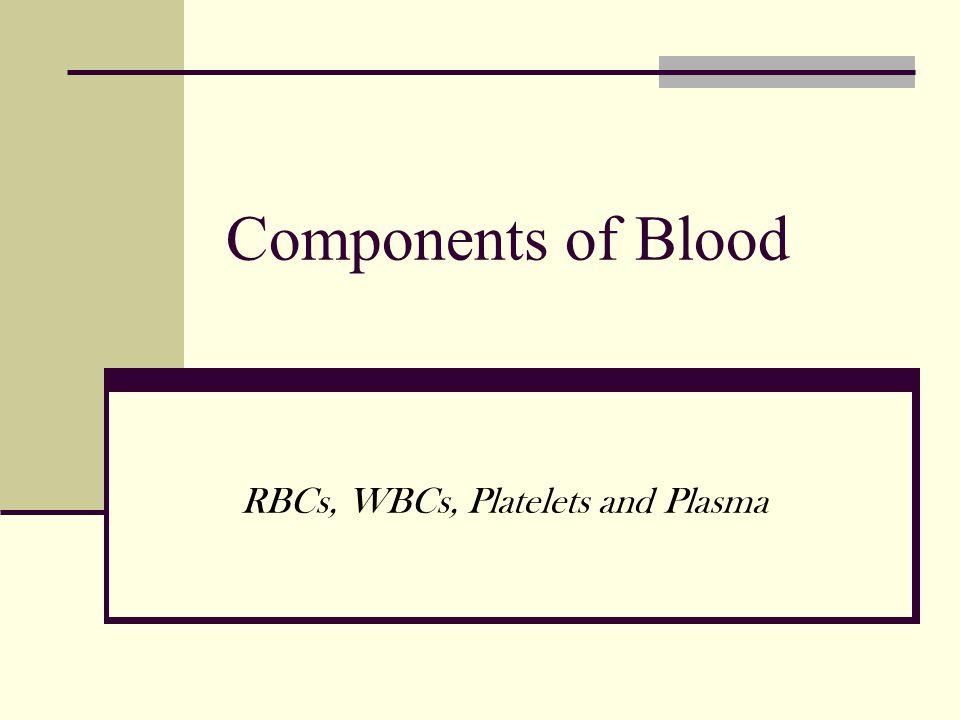 RBCs, WBCs, Platelets and Plasma