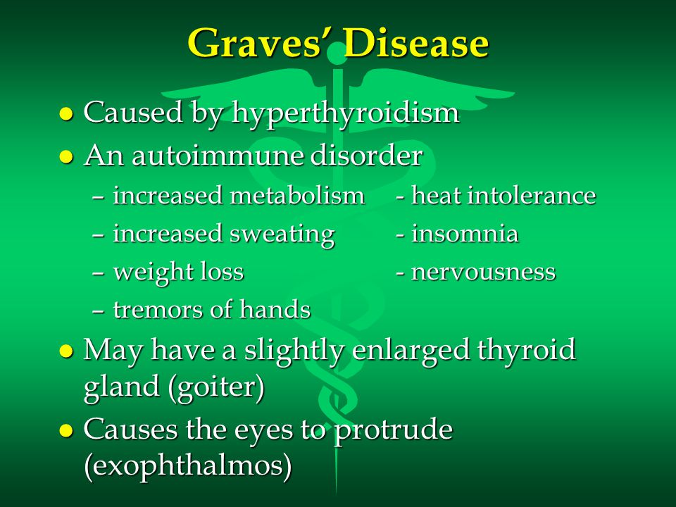 Graves' Disease Caused by hyperthyroidism An autoimmune disorder