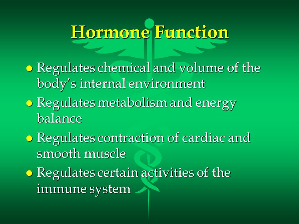 Hormone Function Regulates chemical and volume of the body's internal environment. Regulates metabolism and energy balance.