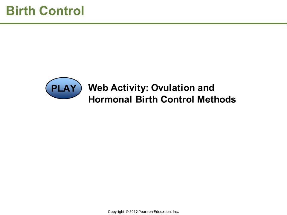 Birth Control Web Activity: Ovulation and Hormonal Birth Control Methods