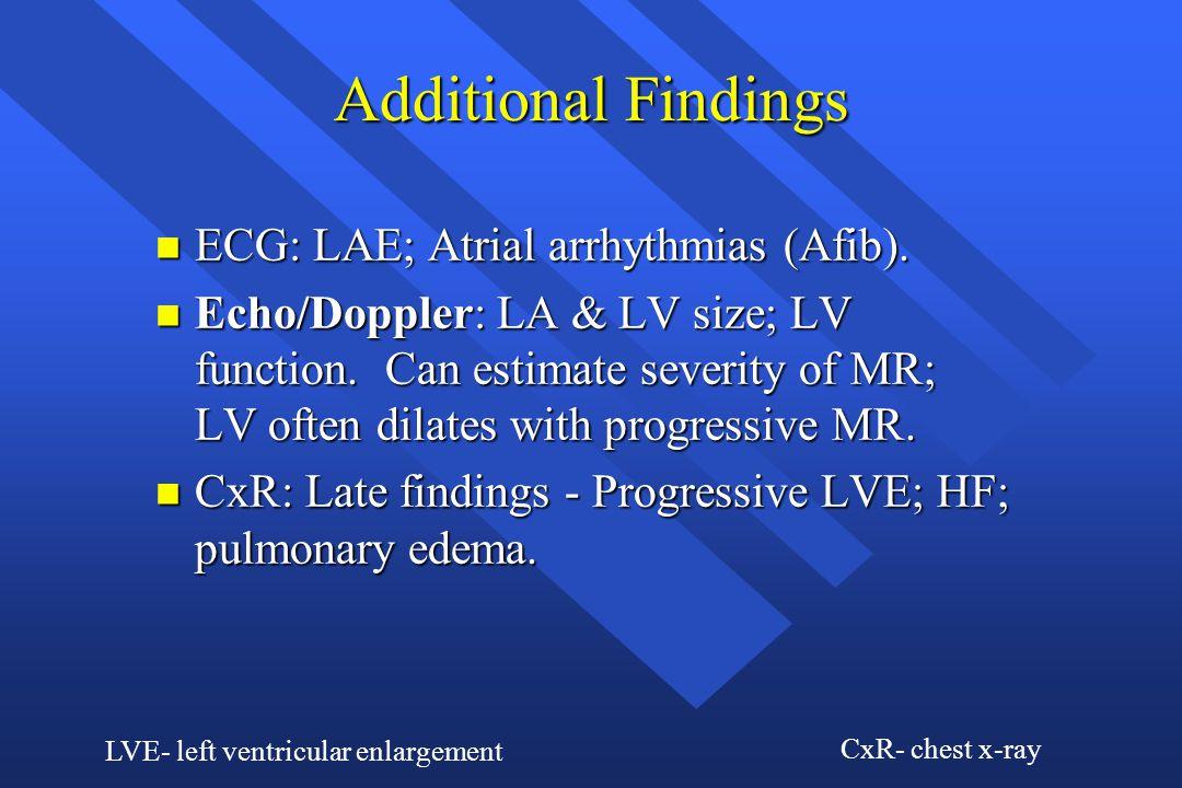 Additional Findings ECG: LAE; Atrial arrhythmias (Afib).