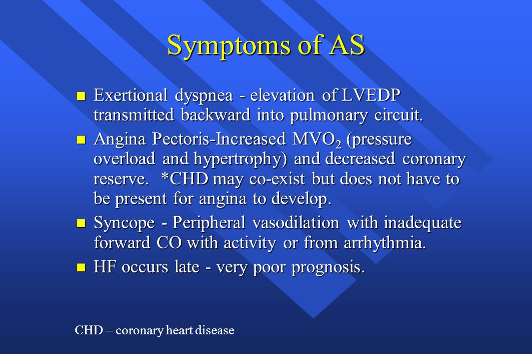 Symptoms of AS Exertional dyspnea - elevation of LVEDP transmitted backward into pulmonary circuit.