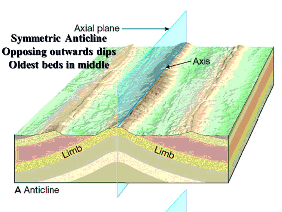 Symmetric Anticline Opposing outwards dips Oldest beds in middle