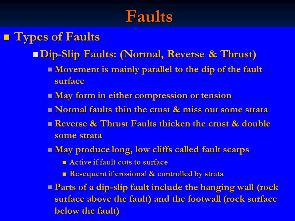 Faults Types of Faults Dip-Slip Faults: (Normal, Reverse & Thrust)