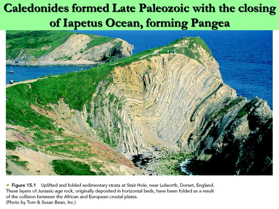 Caledonides formed Late Paleozoic with the closing of Iapetus Ocean, forming Pangea