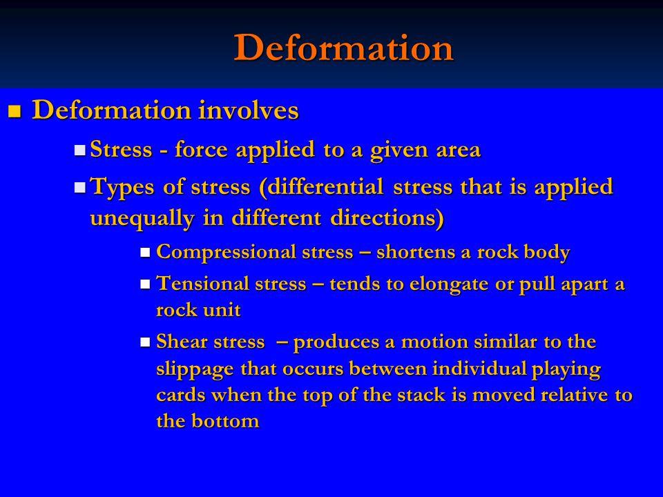 Deformation Deformation involves