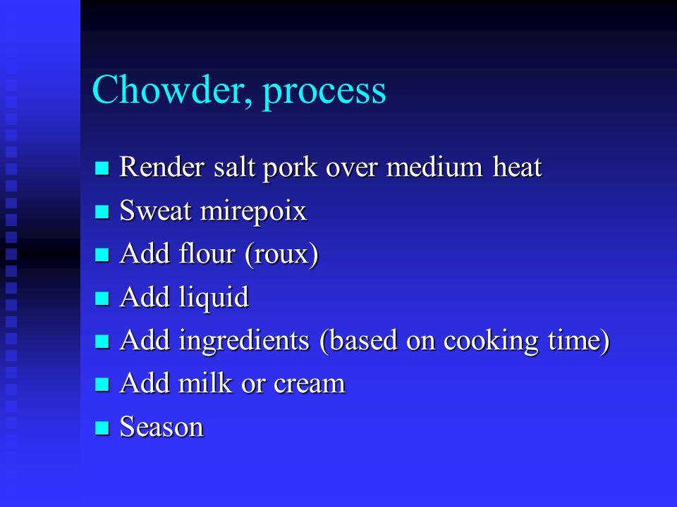 Chowder, process Render salt pork over medium heat Sweat mirepoix