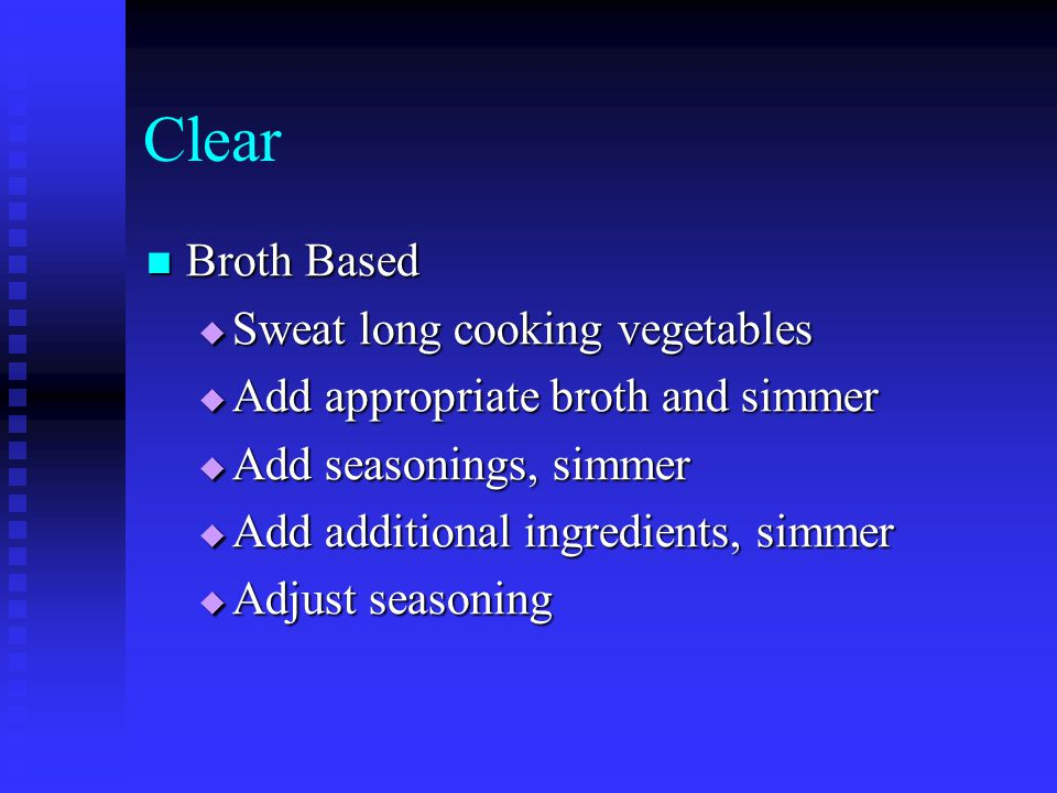 Clear Broth Based Sweat long cooking vegetables