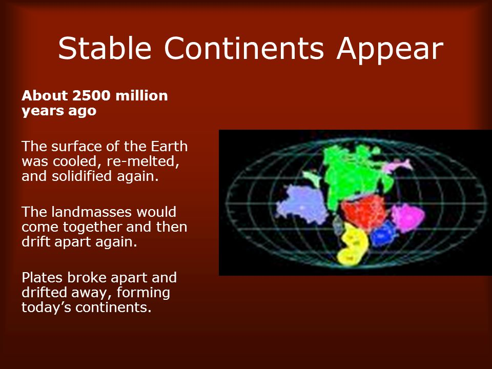 Stable Continents Appear