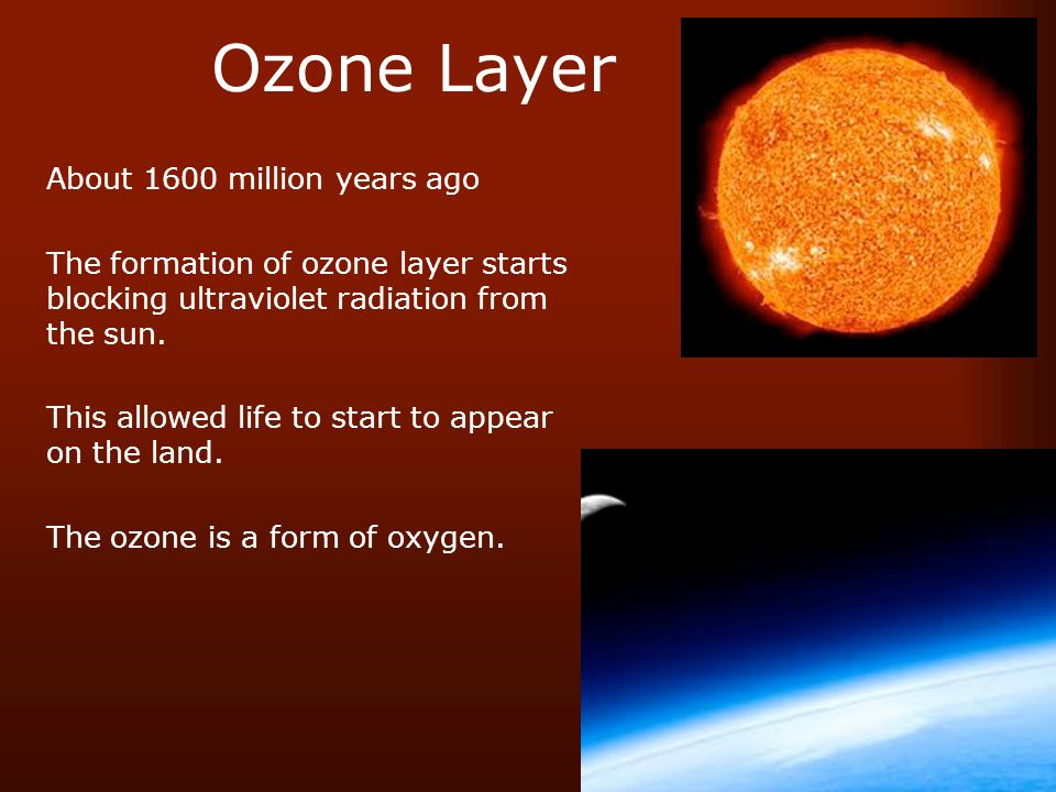 Ozone Layer About 1600 million years ago