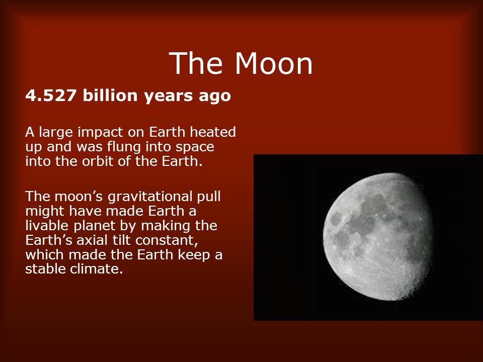 The Moon 4.527 billion years ago
