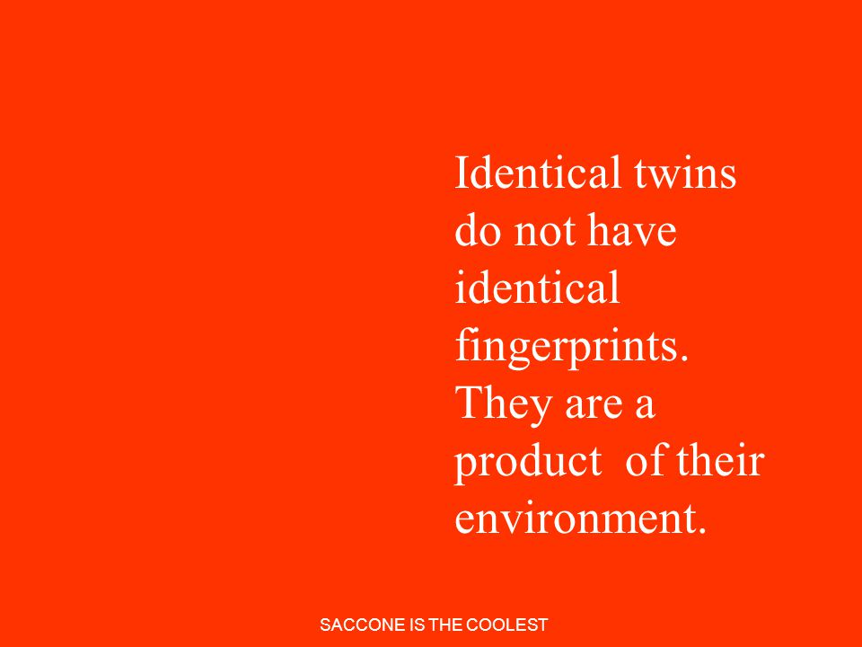 Identical twins do not have identical fingerprints
