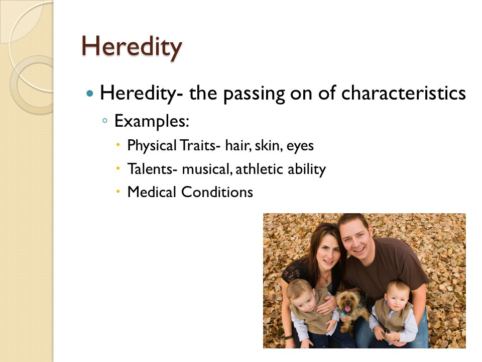 Heredity Heredity- the passing on of characteristics Examples: