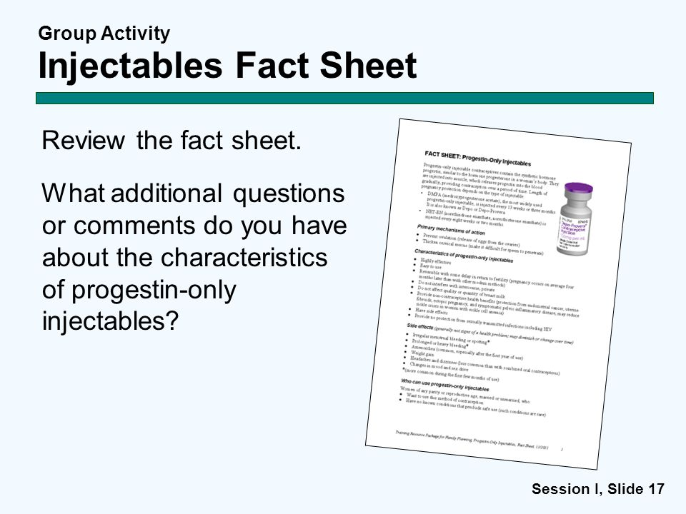 Group Activity Injectables Fact Sheet