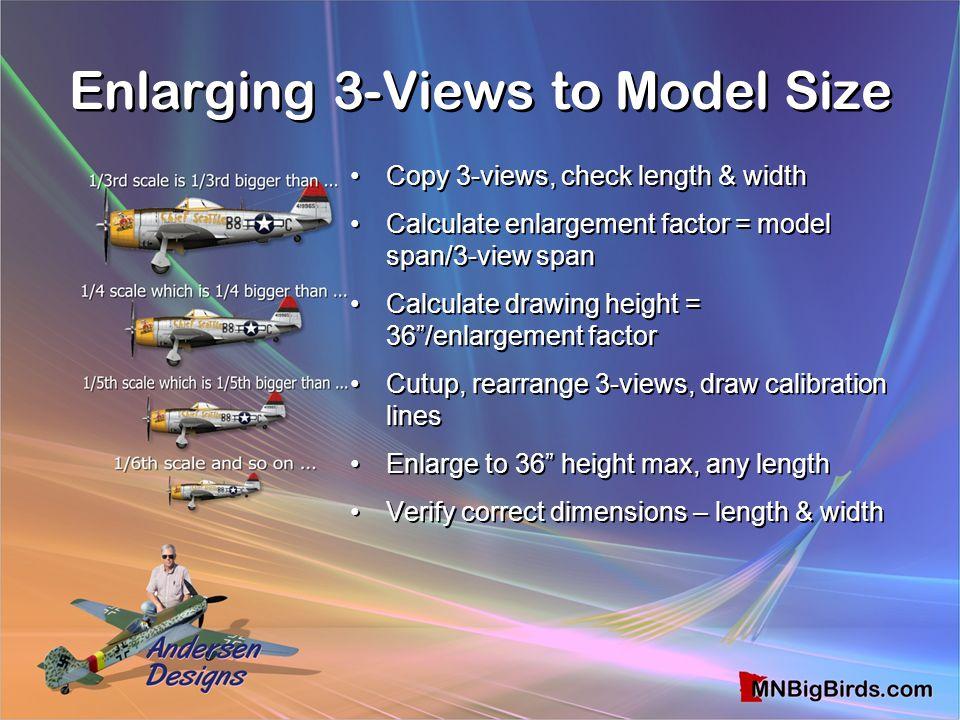Enlarging 3-Views to Model Size