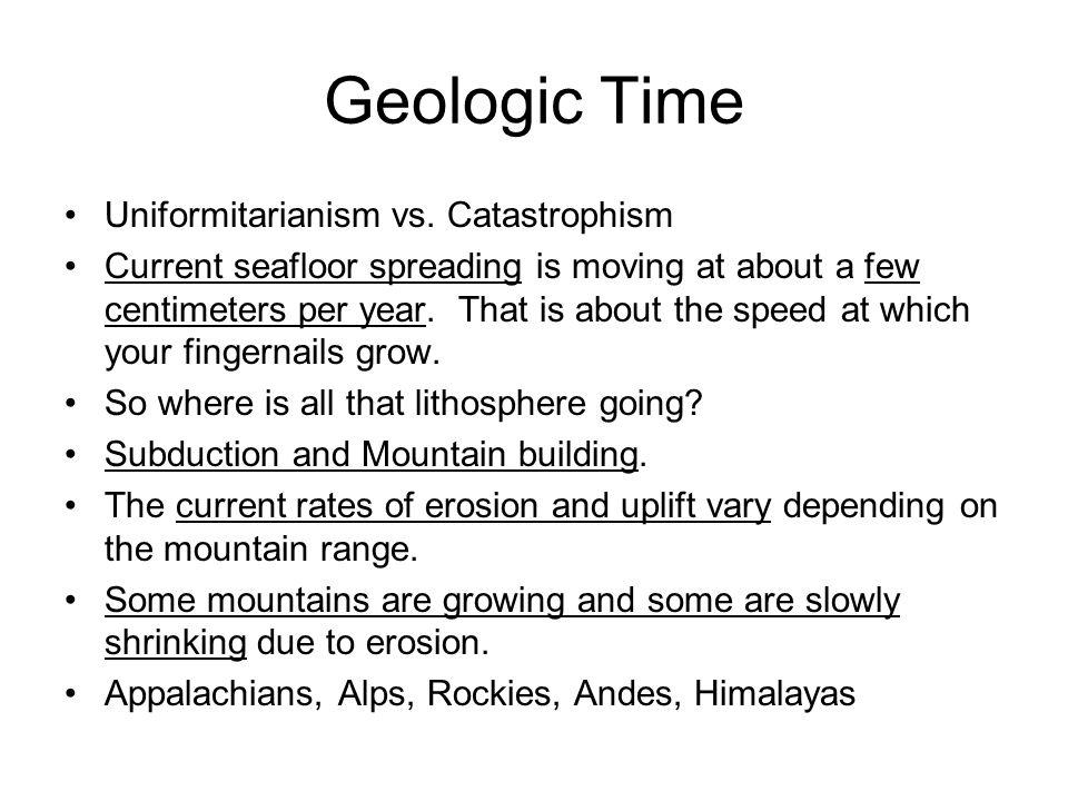 Geologic Time Uniformitarianism vs. Catastrophism
