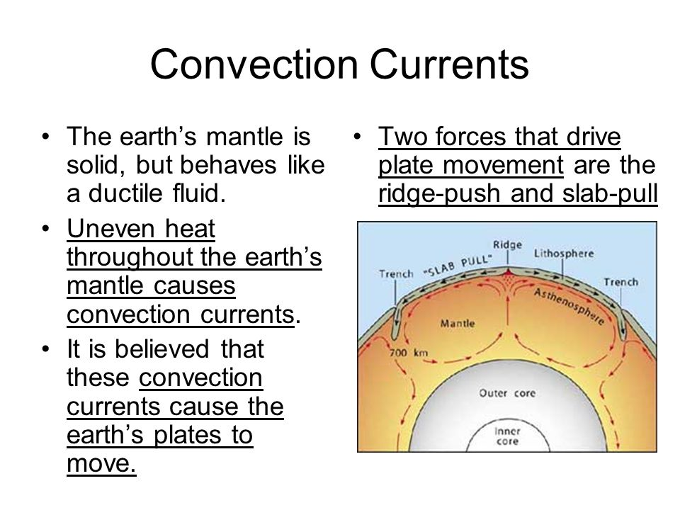 Convection Currents The earth's mantle is solid, but behaves like a ductile fluid.