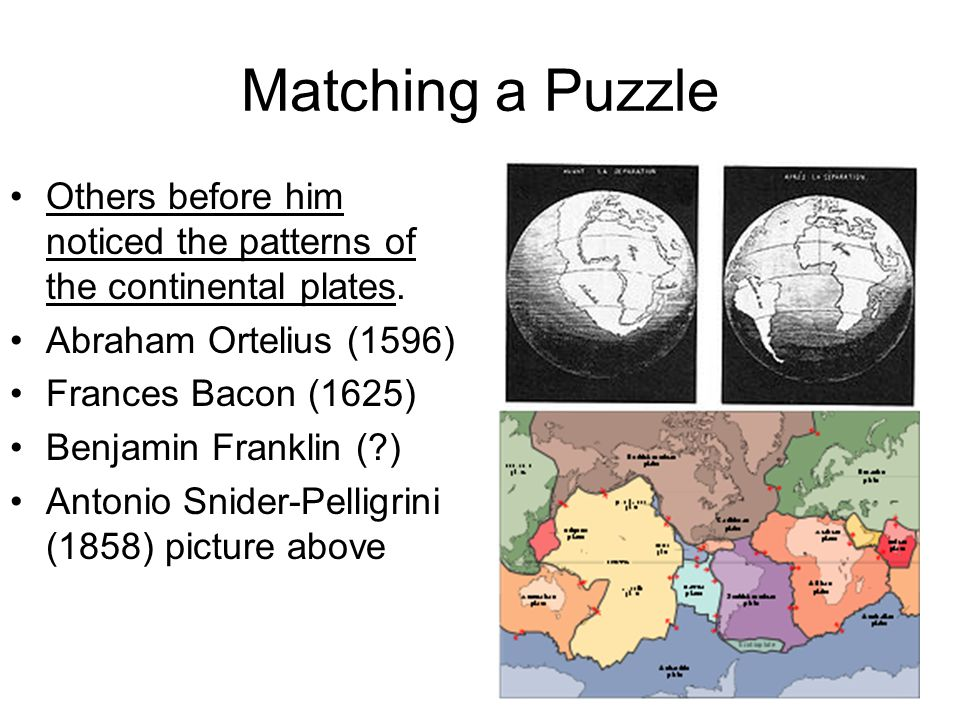 Matching a Puzzle Others before him noticed the patterns of the continental plates. Abraham Ortelius (1596)
