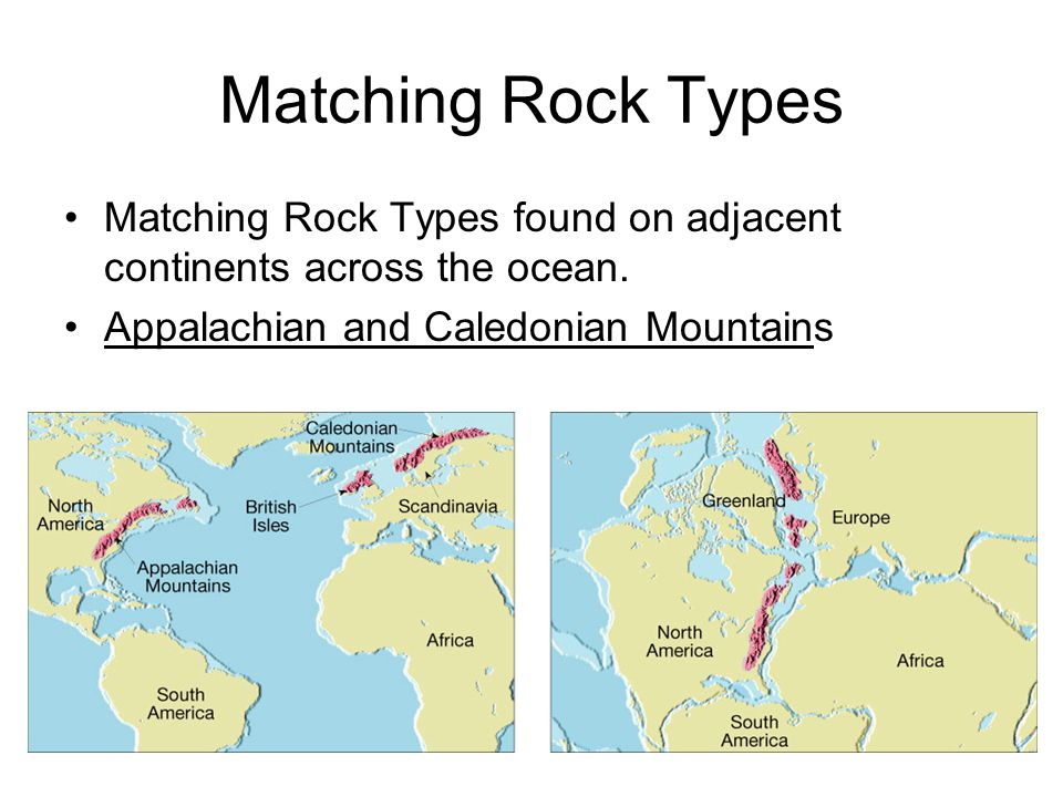 Matching Rock Types Matching Rock Types found on adjacent continents across the ocean.