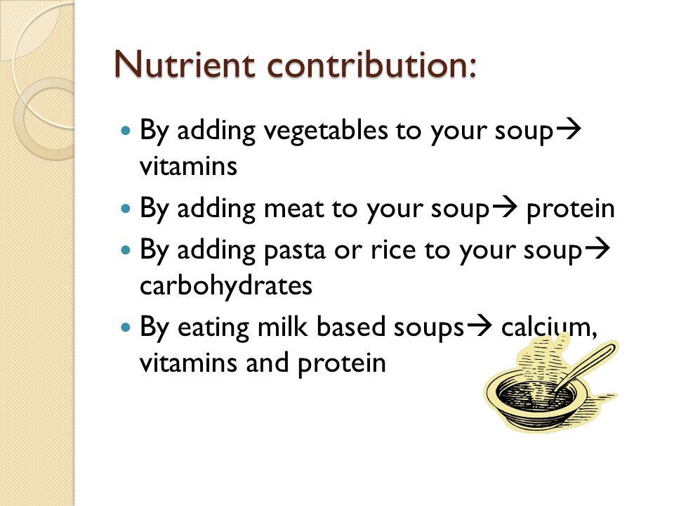 Nutrient contribution: