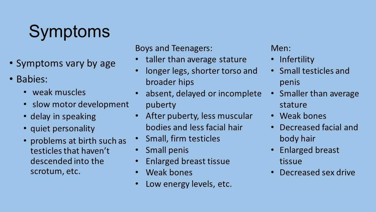Symptoms Symptoms vary by age Babies: Boys and Teenagers: