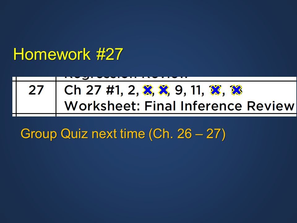Homework #27 Group Quiz next time (Ch. 26 – 27)