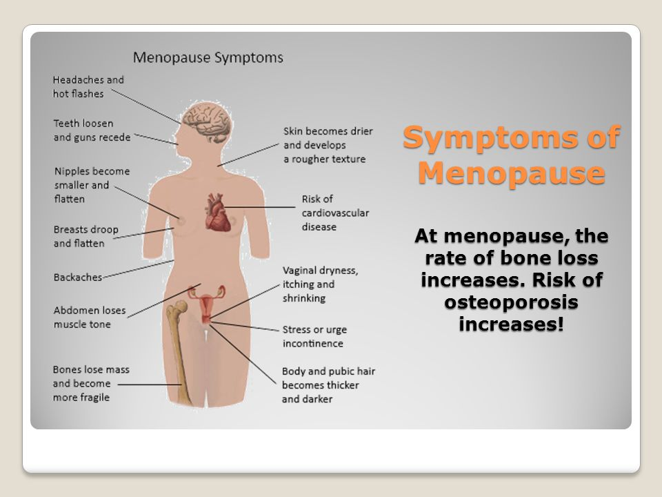 Symptoms of Menopause At menopause, the rate of bone loss increases