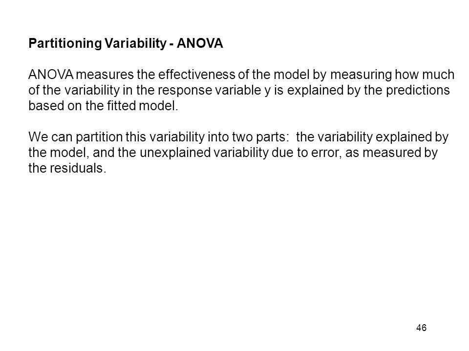 Partitioning Variability - ANOVA