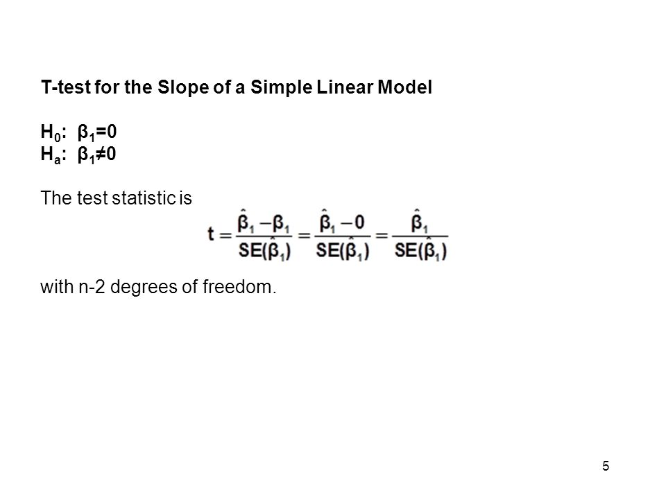 T-test for the Slope of a Simple Linear Model. H0: β1=0.